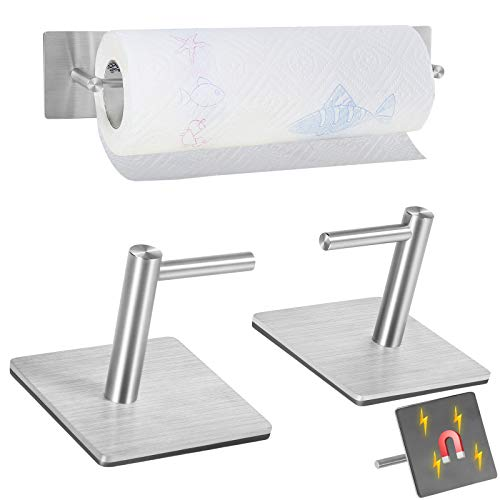 Magnetic Paper Towel Holders Heavy Duty Steel Brushed Holder with Magnetic Backing - Sticks to Any Ferrous Surface - for Kitchen, Refrigerator,Grill--Notice The Size of Holder