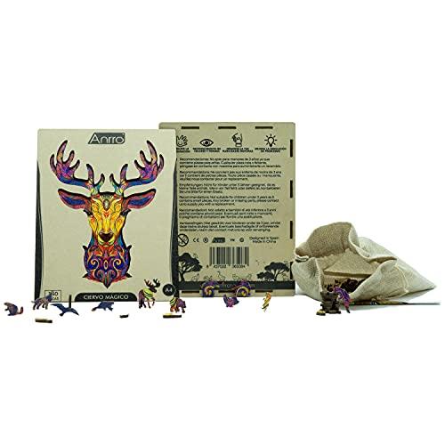 Puzzle de Madera Animales para Adultos, Tamaño A4, Incluye Poster - Rompecabezas para niños | Pasatiempos Familiar (Ciervo Mágico) 150 Piezas