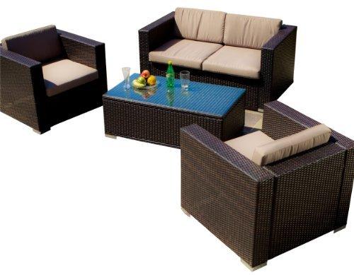 Christopher Knight Home Murano PE Wicker Outdoor Sofa Set, 4-Pcs Set, Multibrown Wicker / Beige