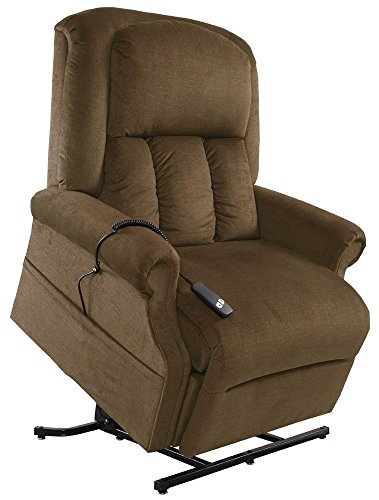 Mega Motion Easy Comfort Superior 3 Position Heavy Duty Big Lift Chair 500 lb Capacity Chaise Lounge Recliner - Walnut Brown Fabric - White Glove Inside Delivery and Setup