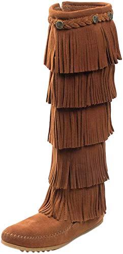 Minnetonka Women's 5-Layer Fringe Boot,Brown,9 M US