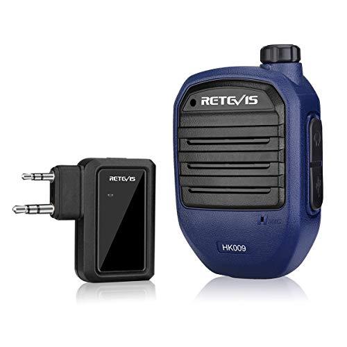 Retevis HK009 Micrófono Walkie Talkie Bluetooth, Micrófono con Altavoz Inalámbrico de Mano Bluetooth Adecuado para Retevis RT5R RT1 RB637 Baofeng UV-5R 888S, Versión Bluetooth V4.2, 892mAh
