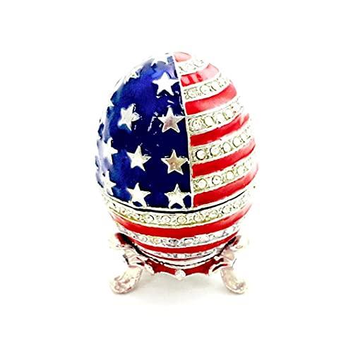 Box 1pc 6 * Forma 4cm Smalto Trinket Uovo American Flag Design Jewelry Organizer Contenitore Dello Smalto Bandiera Bunting
