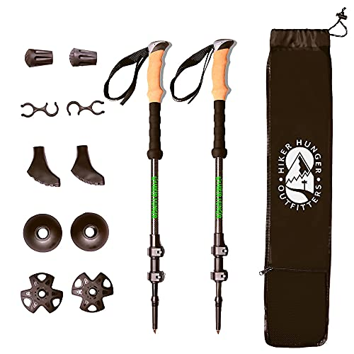 Hiker Hunger Outfitters Carbon Fiber Trekking Poles – Ultralight & Collapsible with Quick Flip-Locks,Cork Grips,Tungsten Tips,Set of 2 Poles - All Terrain Accessories and Carry Bag, Hiking, & Walking