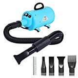Bonnlo 2400W 3.2HP Stepless Adjustable Speed Pet Dryer Dog Hair Dryer Pet Grooming Blower with Heater Quick - 4 Different Nozzles (Single Motor)(Blue)