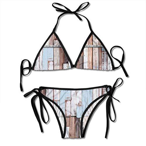 Jiger Adjustable Bikini Set Halter Ladies Swimming Costume, Long Wooden Planks Tree Designs On with Rusty Metal Screws Artwork,Halter Beach Bathing Swimwear