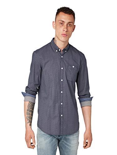 TOM TAILOR DENIM Blusen, Shirts & Hemden Hemd mit Allover-Print Navy Dotted Fan Print, M