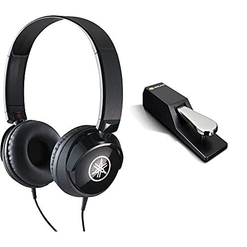 YAMAHA HPH-50B Cuffie Sovraurali, Cuffia On Ear con Meccanismo Girevole 90° & M-Audio SP-2 Pedale di Sustain Universale per Tastiera in Stile Pianoforte
