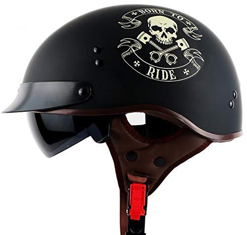 Retro Casco Moto Abierto Medio Casco Con Visera UV Gafas Vintage Open-Face Casco Moto Abierto Half-Face Helmets Con Carcasa De ABS, Para Bike Chopper Scooter, DOT Homologado Black 1,XL