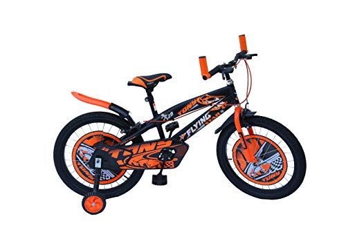 RAW BICYCLES 20T Sports BMX Single Speed Kids Bicycle/Cycle for 7 to 10 Years Boys & Girls Semi Assembled Tyre and Tube with Training Wheels (Orange)