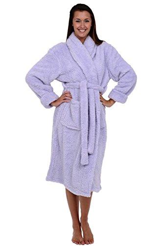Alexander Del Rossa Women's Plush Fleece Robe, Warm Shaggy Bathrobe, Large-XL Lavender (A0302LAVXL)