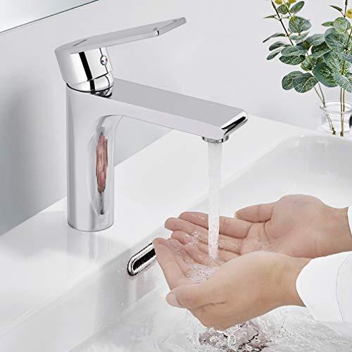 BONADE Wasserhahn Waschbecken Badarmatur Messing Chrom Waschtischarmatur für Bad Einhebelmischer Mischbatterie für Badezimmer
