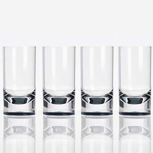 Acryl Gläser 4 Personen Camping Küche grau Kunststoff Weinglas Trinkglas Trinkbecher Saftglas Wasserglas Becher • Camping Picknick Geschirr elegant Design Kinderglas bruchfest 4 x 290ml Polyacryl