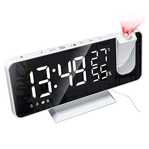 Digital Projektionswecker Radio-Wecker mit USB Anschluss, Funkuhr mit Projektion Dual-Alarm Modi 12 H/ 24H LED-Anzeige 180° Projektor für Schlafzimmer Büro Geschenk (Weiße Schale & Weiße LED)