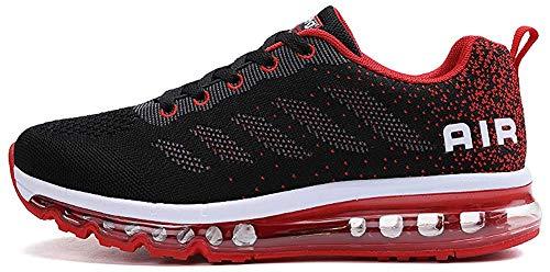 tqgold Sportschuhe Herren Damen Laufschuhe Turnschuhe Sneakers Leichte Schuhe (Schwarz Rot,46 Größe)