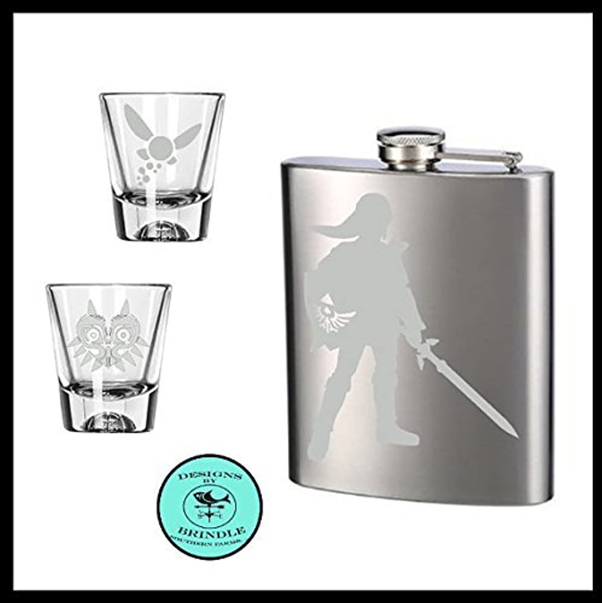 Legend of Zelda inspired etched Flask and set of TWO etched shot glasses Navi and Majora shot glasses, Link etched stainless steel flask.