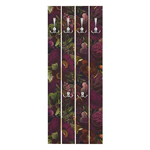 Bilderwelten Perchero de Madera   Dark Purple Flowers   Ganchos cromados 100 x 40cm