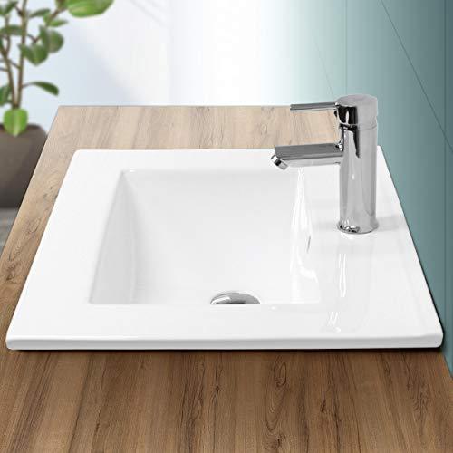 ECD Germany Waschbecken Waschtisch 610 x 465 x 175 mm Keramik Weiß Einbaubecken Einbauwaschbecken Waschschale Handwaschbecken Einbauwaschtisch Aufsatzwaschbecken Spülbecken Wasserfall Waschschlüssel