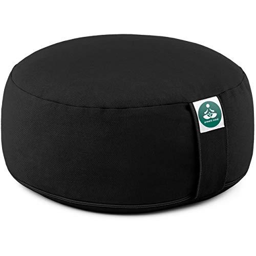 Present Mind Meditationskissen - Yogakissen Rund Zafu - Hergestellt in der EU - Sitzhöhe 16 cm - Waschbarer Bezug - 100% Natürliche Yoga Sitzkissen (Tiefschwarz)