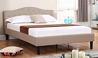 Queen Tall Size Upholstered Platform Bed Frame and Tufted Panel Headboard with Mattress Foundation and Solid Wood Slat Bed Support, No Box Spring Needed - Box Replacement