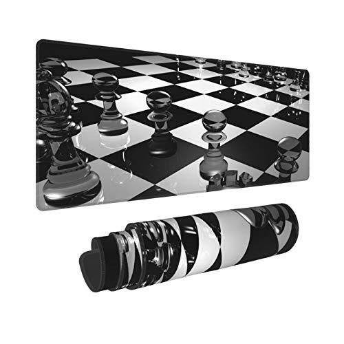 PATINISA Alfombrilla Raton Ajedrez de Tablero de ajedrez en Blanco y Negro Alfombrilla Gaming Alfombrilla para computadora con Base de Goma Antideslizante,80×30×0.3cm