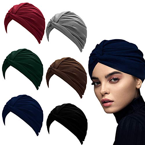 6 Pieces Turban African Headwrap Soft Knotted Hat Wrap Beanie Cap Pre-Tied Bonnet Cap Sleep Hat for Women Fashion Pleated Turban Cap