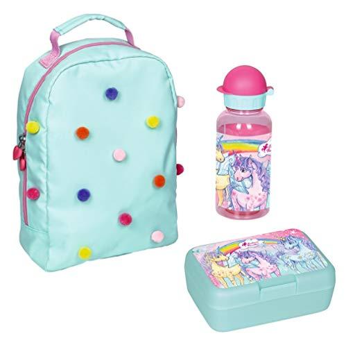 Familando Spiegelburg Kindergarten-Rucksack Set 3tlg. mit Brotdose und Trinkflasche Prinzessin Lillifee Pom-Pom Einhorn Paradies