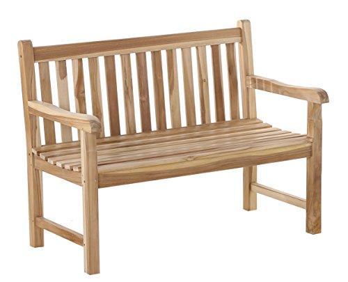 SAM Möbel Outlet Gartenbank Java aus Teak-Holz mit Arm- und Rückenlehne   Massive Holzbank mit 120 cm Breite   stabil und witterungsbeständig...