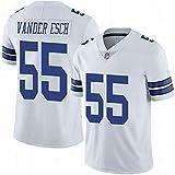 HANWAR Prescott4# Vander Esch55# Dallas Cowboys Rugby vêtements brodé Haut Maillot de Football américain-White55-XL