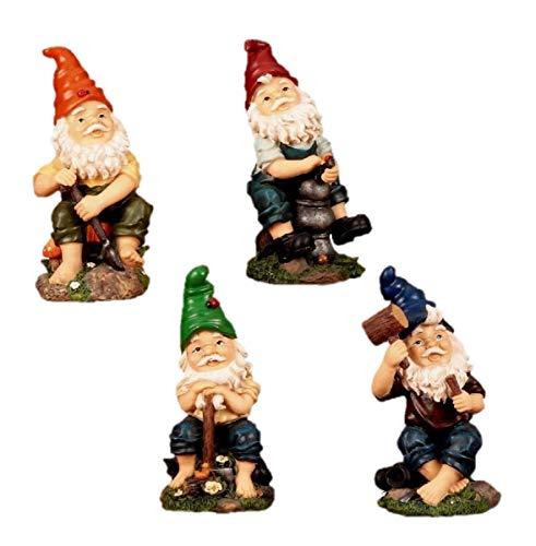 4 Lustige Gartenzwerge Gnome 22cm Gartenzwerg
