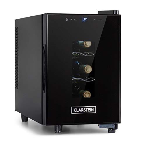 Klarstein Bellevin Uno - Nevera para vinos, Vinoteca temperatura 11-18°C, ruido 26dB, 3 baldas metálicas, luces LED, protección UV, nevera vinos independiente para encimera, 17L / 6 Botellas, Negro