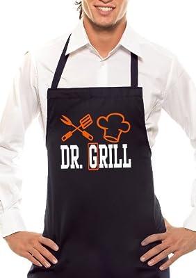 DR. GRILL - Zweifarbig - Grillschürze Schwarz/Orange-Weiss