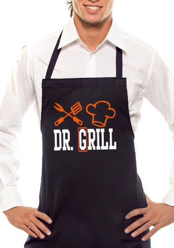 Comedy Grill Dr. Barbecue – Bicolore – Tablier Noir/Orange/Blanc