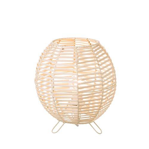 Lámpara de mesa de rattan natural beige oriental para salón Sol Naciente - LOLAhome