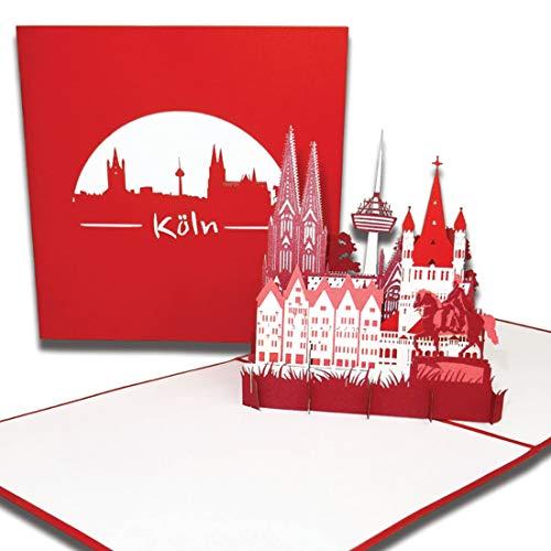 """Pop-Up Karte\""""Köln – Skyline mit Kölner Dom"""" 3D Karte mit Umschlag, Grußkarte, Geburtstagskarte, Einladung und Reisegutschein"""