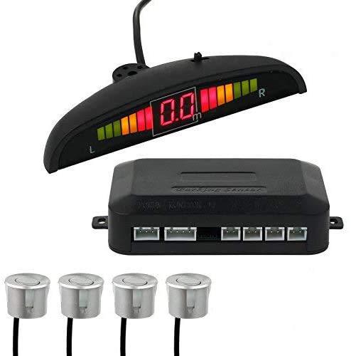 AUTOUTLET Einparkhilfe Parksensoren PDC Rückfahrwarner 4 Sensoren Universal Auto Rückwärtsparkhilfe Rückwärtsgang Audio Buzzer Alarm Kit LCD Display DC 12 V(silber)