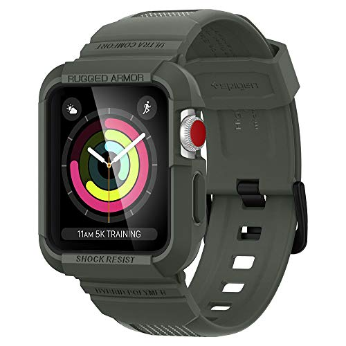 Spigen Rugged Armor PRO Compatibile con Apple Watch Cinturino con Custodia per 42mm Serie 3 / Serie 2/1 / Originale (2015) - Verde Militare