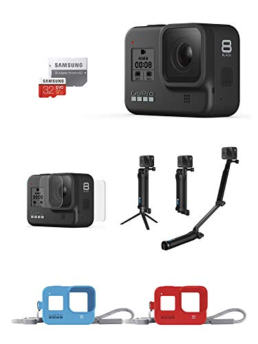 【GoPro公式限定】GoPro HERO8 Black + 予備バッテリー + 認定microSDカード32GB + 公式ストア限定非売品 メガホルダー(白) & ドライバッグ & ステッカー 【国内正規品】