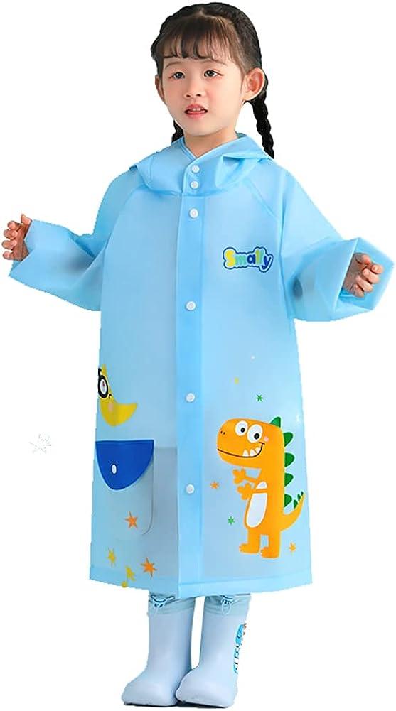 Kids Lightweight Hooded Rain Wear Waterproof Jackets Cartoon Reflective Raincoat Outwear 2-12years
