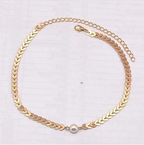 GUHUA Collar De Moda para Mujer Letra V Cadena Collares De Perlas...