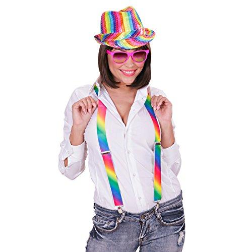 Amakando Chapeau de fête en Couleurs Arc-en-Ciel Paillettes Multicolore Trilby fête soirée été Rainbow Borsalino déguisement Carnaval