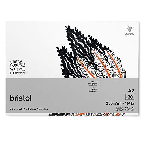 Winsor & Newton 6661547 Bristol ritpapper i blocket – 20 ark DIN A2, 250 g/m², huvudlimmat, strålande vitt papper för ritningar med tekniska pennor, fineliner, bläckpennor, markrar, airbrush