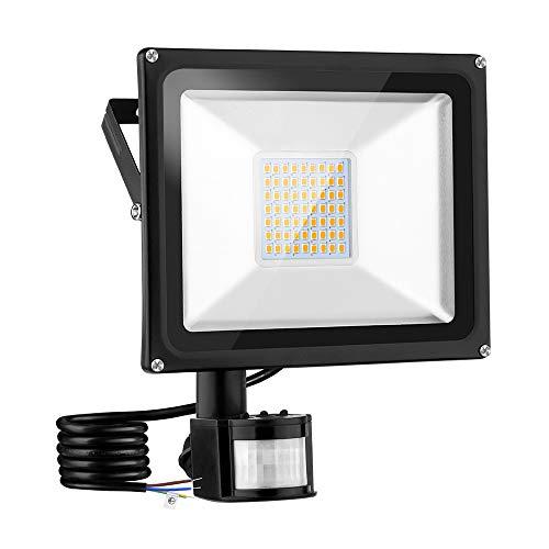Faro a LED con sensore di movimento per esterni, 30 W, ultra luminoso, 3000 lm, 3000 K, bianco caldo, IP66, impermeabile, per giardino, garage, cortile, Sportplatz