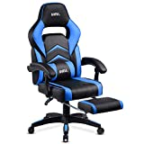 Amazon Brand - Umi Gaming Stuhl Bürostuhl Schreibtischstuhl mit Armlehne Drehstuhl Höhenverstellbarer Gaming Sessel PC Stuhl Ergonomisches Chefsessel mit Fußstützen Blau