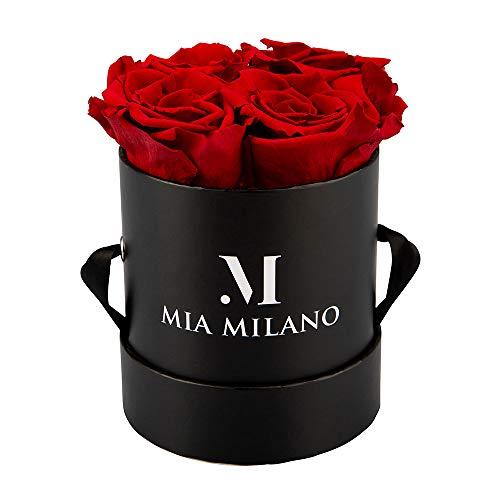 Mia Milano Infitnity Rosen in Box I Schwarze Rosenbox mit echten konservierten Blumen I Geschenk für Frauen I Flowerbox 3 Jahre haltbar