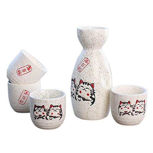 Panbado Juego de Sake de 5 Piezas de Gres, Conjunto Tradicional Japonés con 1 Botella de Sake y 4 Sake Cups de Cerámica, Estilo Japonés, Mejor Regalo de Cumpleaños, Navidad, San Valentín - Gato