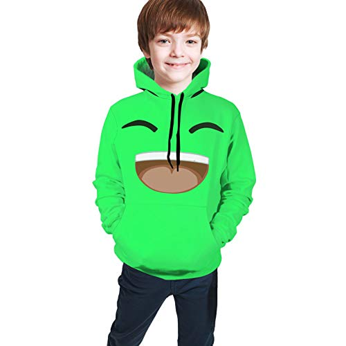 Youth Hooded Green-Jelly Kids 3D Print Pullover Sweatshirt S(7-8)