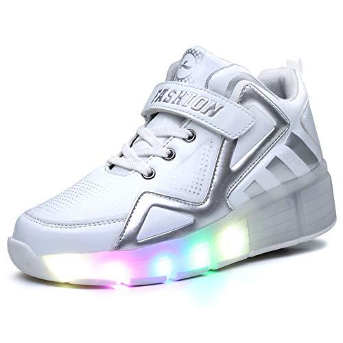 Bruce Wang Unisex-Kinder LED Licht Auf Einzelne Doppelrad Roller Schuhe Outdoor Sports Training Skate Turnschuhe Retractable Technical Skateboarding Laufsportschuhe (38 EU, Weiß (einzeln) 8085)