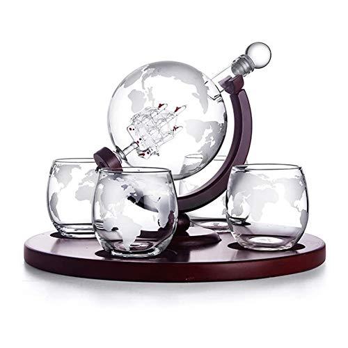 GAOTTINGSD Botellero Whisky Decanter Globe Conjunto con 4 Grabado Al Globo De Whisky Vidrios - For El Licor, Whisky, Bourbon, Regalos For El Papá Vodka - 850ml