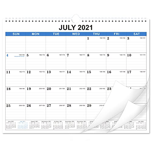 2021-2022 Calendar - 18 Monthly Wall Calendar, July 2021 - December 2022, 14.6'' x 11.4', Academic Calendar, Large Blocks with Julian Dates, Twin-Wire Binding, Suitable for hanging on the wall with simple appearance and decorative effect.